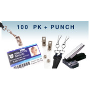 ID Accessory Pack - Includes Lanyards, Strap Clips & Slot Punch - 100 Count