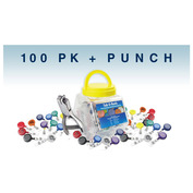 Tub-O-Reels & Punch Pack - 100 Badge Reels with Hand-Held Slot Punch